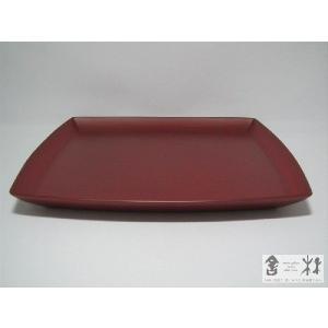 漆器 乾漆 胴張正方皿 8寸 赤 鎌田克慈作 (パスタ皿)|cast0217