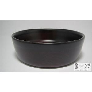 漆器 六寸銅鑼鉢 木地溜 中野知昭作 cast0217