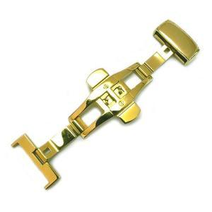 Dバックル(プッシュ式)ゴールドメッキ仕上げ 18mm,20mm,22mm|cast