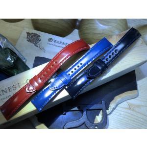 EARNEST 18.20.22mmハンドメイド/コードヴァン10色、グラマラスシェイプ/Dバックル付き、選べる厚み |cast