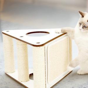 爪とぎ タワー 猫用 おしゃれ 木製 小型 安定感 おもちゃ ネコ 麻縄 麻 (Lulu's wor...