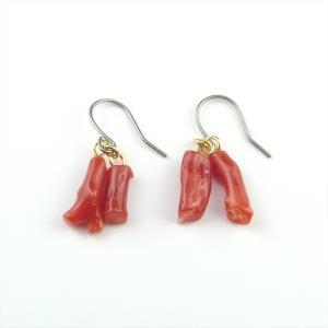 珊瑚 ピアス 赤珊瑚 日本産 チタン 枝 天然 |cathaycoral