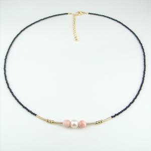 珊瑚 ネックレス ピンク珊瑚 深海珊瑚 オニキス パール|cathaycoral