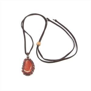 珊瑚 ネックレス 赤珊瑚 国産 皮ひも 皮紐 革紐 マクラメ スライス 天然|cathaycoral