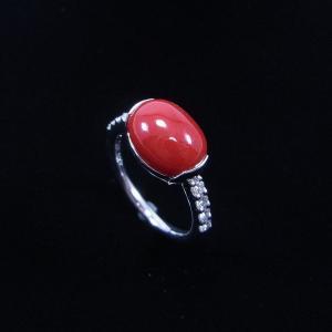 珊瑚 指輪 血赤珊瑚 カボション 高知県産 天然 プラチナ リング |cathaycoral