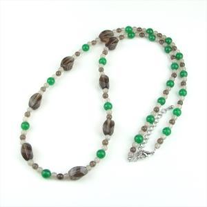 天然石 ネックレス メノウ スモーキークォーツ|cathaycoral