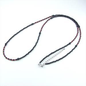 天然石 ネックレス オニキス 染サンゴ 赤色 ロング|cathaycoral