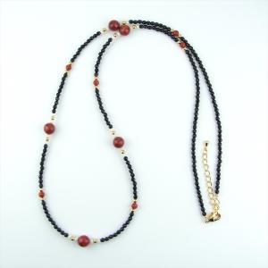 天然石 ネックレス オニキス アップルサンゴ 海竹|cathaycoral