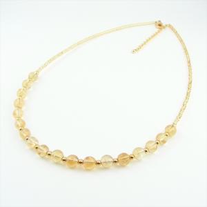 天然石 ネックレス シトリン 黄水晶 ガラスビーズ キャセイ|cathaycoral