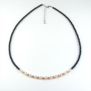 天然石 ネックレス 黒珊瑚 珊瑚 さんご 淡水パール オレンジ|cathaycoral