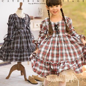 子どもワンピ 子ども服(女の子) 子供 ドレス ワンピース チェック編み上げワンピース 結婚式にも 入学式 子供服 TAK|catherine