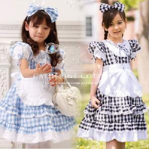 子供ドレス チェックエプロンドレス ハロウィン 衣装 女の子 子どもワンピ 90-150cm コスプ...