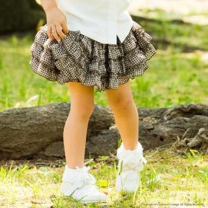 子供スカート キュートなチェック柄シフォンフリルスカート イ...