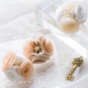 限定品 2色の巻きバラクリップ ハンドメイド  女の子 結婚式 発表会|catherine
