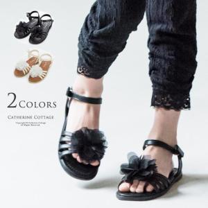 プチプラ子供靴 コサージュ付フラットサンダル 16 17 18 19 20cm