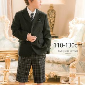 入学式スーツ 男の子 小学校  結婚式 卒園式 七五三 フォーマル チェック柄ハーフパンツの子供スーツセット 110 120 130 cm|catherine