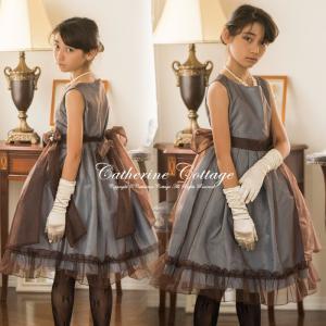光沢のある水色の生地にブラウンのオーガンジーを重ねたドレス。2つの異なる色、素材を重ねているので、ブ...