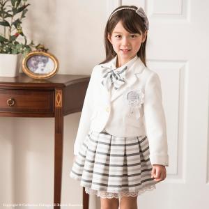 入学式 女の子 白ジャケットとボーダータックスカートスーツ5...