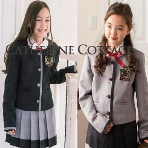 卒業式 小学校 女子 卒服 女の子スーツ ノーカラージャケット配色プリーツスカートスーツ5点セット 140 150 160 165cm TAK|catherine
