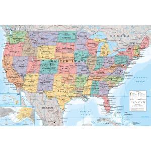 アメリカ 地図 ポスター