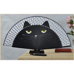 【ネコポス対応】猫 扇子 黒猫 /ねこ ネコ せんす 花火 祭り まつり クロネコ|cattery-branche