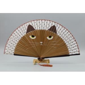 【ネコポス対応】猫 扇子 茶猫 /ねこ ネコ せんす 花火 祭り まつり 茶トラ|cattery-branche