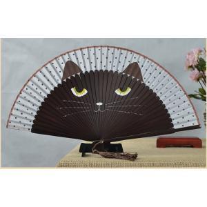 【ネコポス対応】猫 扇子 こげ茶猫 /ねこ ネコ せんす 花火 祭り まつり キジトラ|cattery-branche