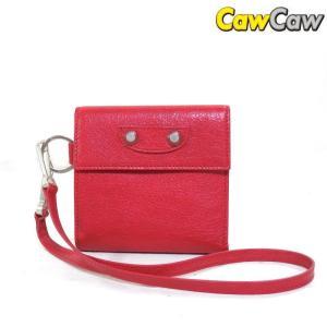 バレンシアガ BALENCIAGA 三つ折り 財布 ストラップ付き 312206 赤 未使用品|cawcaw