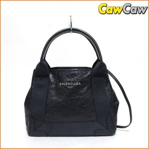 バレンシアガ BALENCIAGA 2WAY ハンドバッグ ショルダーストラップ付き ネイビーカバス 390346 未使用品|cawcaw