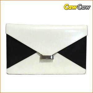 セリーヌ CELINE ダイヤモンド クラッチバッグ ブラック×ホワイト レザー|cawcaw