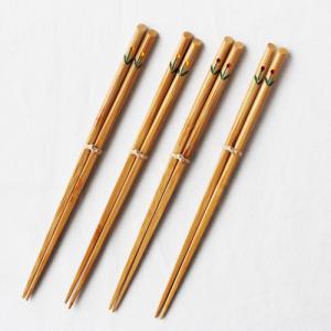 竹製チューリップ箸 【大人用】 日本製  孟宗竹 21.5cm 赤/黄