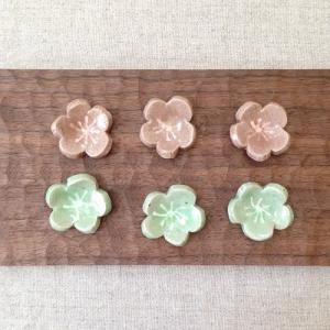 梅の花 箸置き グリーンのみ 陶器 梅干置き かわいい テーブル雑貨|cayest