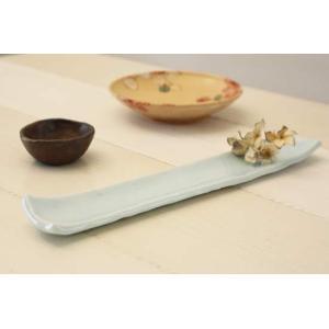 青磁 長皿 長角皿 細め 大皿 31cm 磁器 和食器 水色 おしゃれ|cayest