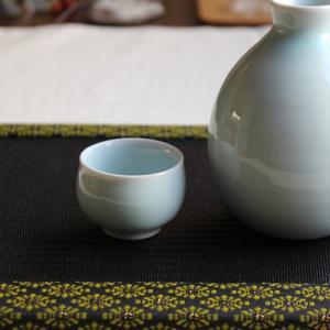 青磁 水色 ぐい呑み お猪口 丸み きれい シンプル 涼やか 酒器 陶器|cayest