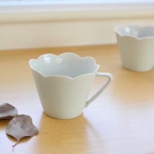 コーヒーカップ 花びら型 薄造り 手作り 和食器 白磁 陶峰窯|cayest