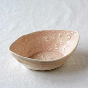 ピンク小鉢L 廣川みのり 舟形 和食器 鉢 ボウル 鳥模様 かわいい|cayest