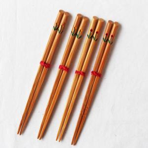 竹箸 チューリップ 16.5cm 子供用 赤/黄 かわいい お箸 国産孟宗竹 日本製|cayest