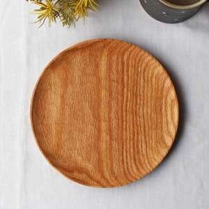 木製プレート 丸皿 18cm パン皿 甲斐幸太郎 レッドオーク 日本製 トレイ おしゃれ|cayest