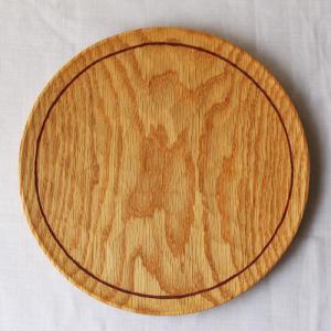 木製プレート 丸皿 21cmライン パン皿 甲斐幸太郎 レッドオーク 日本製 トレイ|cayest