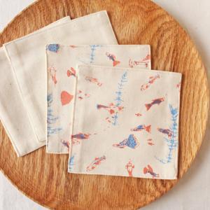 布コースター グッピー 正方形 綿100% 熱帯魚 aosansyo シルクスクリーン|cayest
