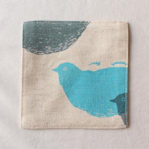 布コースター 正方形 鳥 / 女の子柄 aosansyo 綿生地 シルクスクリーン|cayest