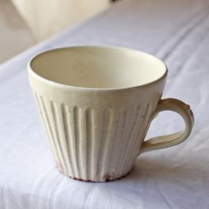 粉引マグカップ 白 シノギ 300cc 陶器 信楽焼 たっぷり カフェ おしゃれ|cayest
