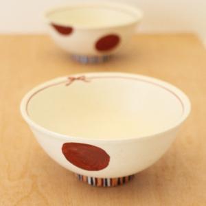 絵付け お茶碗 飯碗 水玉 ドット 赤 廣川みのり 和食器 かわいい|cayest