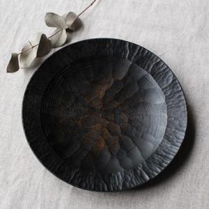 漆器 アルダー拭漆 木製食器 丸皿 21cm 7寸 ノミ目 甲斐幸太郎|cayest