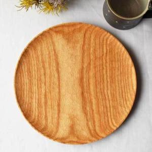 木製プレート 丸皿 24cm ランチプレート パン皿 甲斐幸太郎 レッドオーク 日本製 お盆 トレイ|cayest
