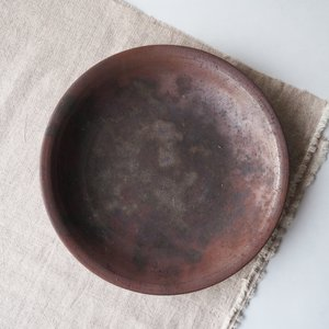 焼締 丸皿 21cm 浅鉢 丹波焼 丹久窯 大皿 和食器 かっこいい 渋め メイン皿|cayest