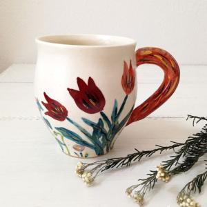 チューリップ 白 マグカップ 野花柄 250cc 廣川みのり 陶器 カップ たっぷり|cayest