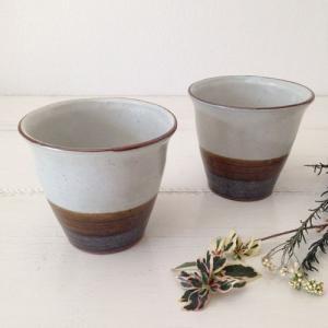 湯呑 アメ釉粉引 フリーカップ 陶器 信楽焼 かわいい おしゃれ オールインワンカップ|cayest