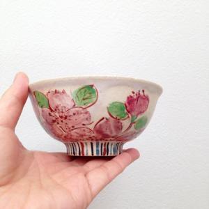 大きな桜 お茶碗 飯碗 華やか 絵付 廣川みのり 作家の器|cayest