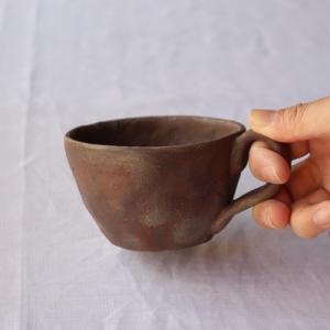 焼締 コーヒーカップ 手びねり 陶器カップ 丹波焼 和食器 手作り 渋め|cayest